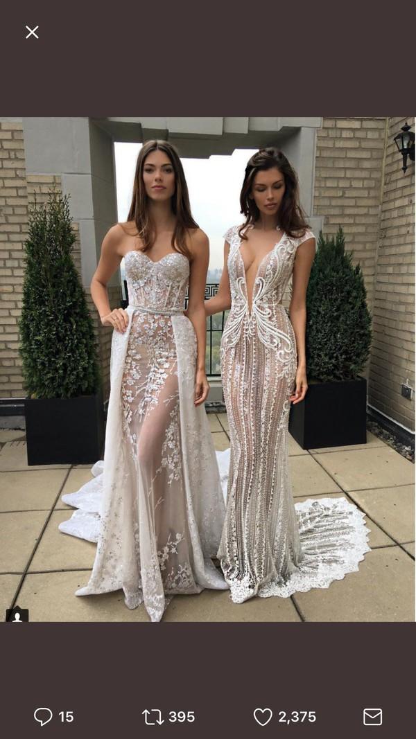 d4ef0c46ab9c Berta Cap Sleeve Embellished Lace Mermaid Gown