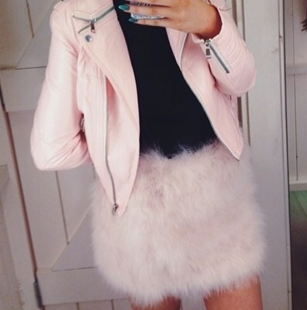 skirt pink fluffy jacket fluffy