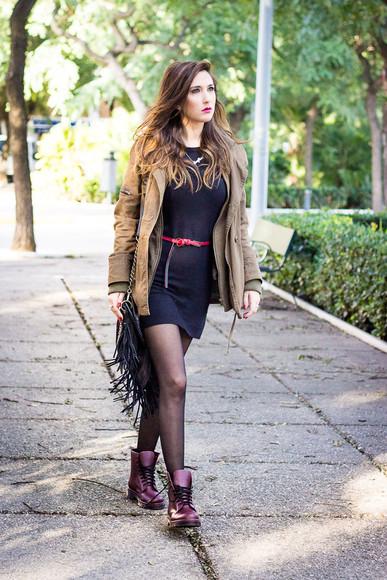 DrMartens blogger jewels shoes and basics bag parka Belt black dress fringed bag