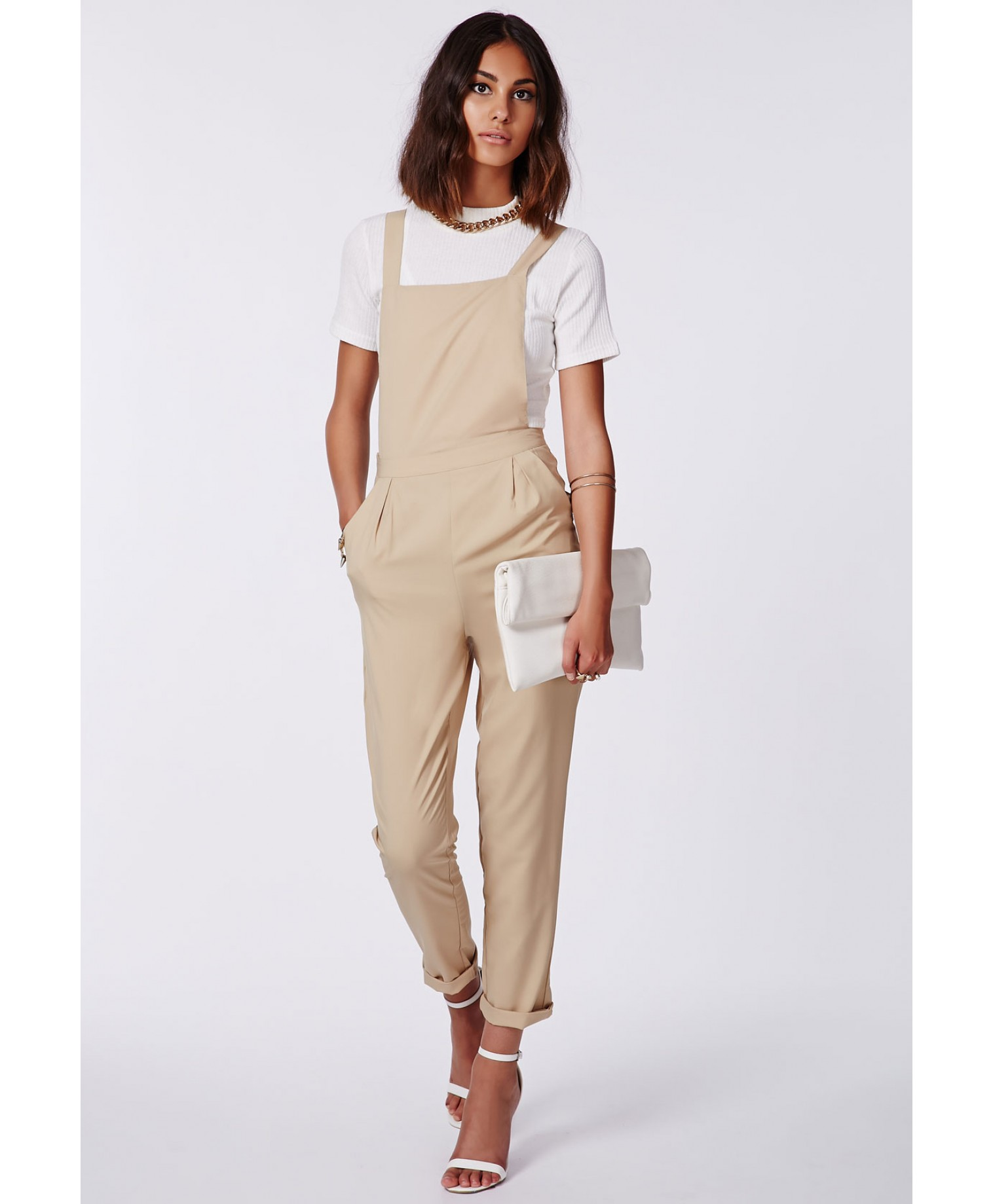 Missguided - Katayun Camel Tailored Dungarees