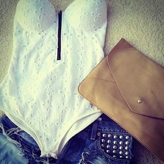 tank top white bodysuit bra bralette lace leotard black zip summer