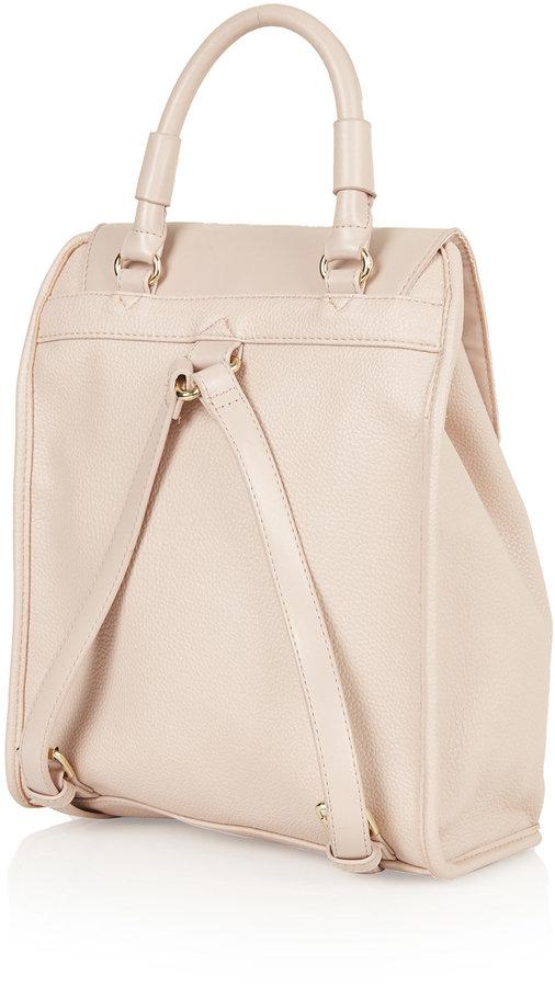 Pink Leather Backpack: Topshop Clean Smart Backpack ...