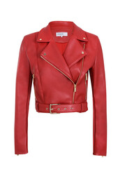 jacket,biker jacket,red,red jacket,leather,leather jacket,cropped jacket,cropped,houseofcb,house of cb,faux leather,women,fashion