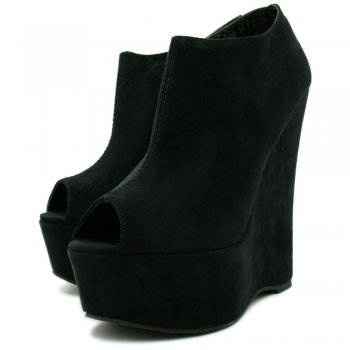 5330d7bff5a Womens Black Suede Style Peep Toe Wedge Platform Boots - from ...