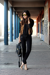 fake leather,jeans,jacket,t-shirt,sunglasses,shoes,metallic bomber,bomber jacket,gold jacket,black jeans,top,black top,pointed toe pumps,pumps,nude pumps,fall outfits,bag,phillip lim,black bag,mirrored sunglasses,blogger
