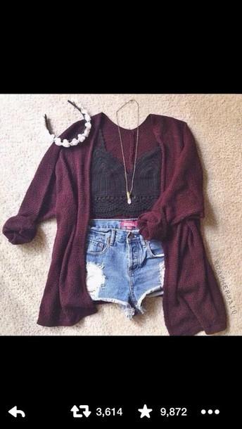 cardigan burgundy cardigan distressed shorts black lace crop top shorts