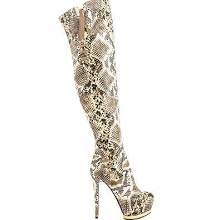 Luichiny May La Beige Snake Thigh High