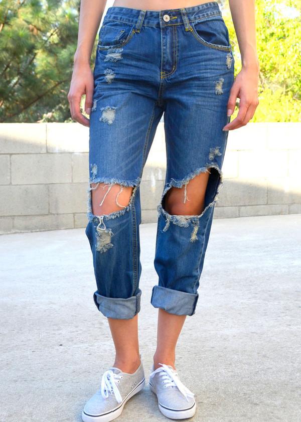 Jeans: denim, boyfriend jeans, ripped jeans, ripped, ripped denim ...