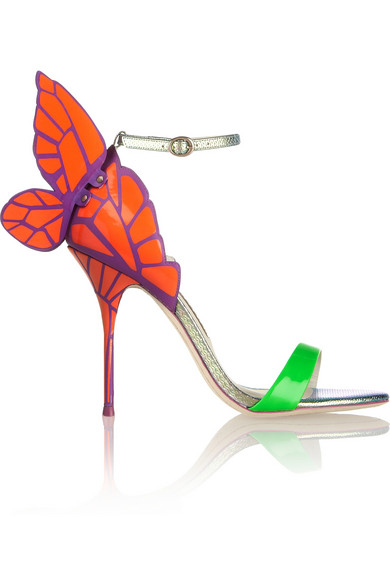 chiara neon and iridescent leather sandals