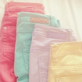 pants skinny pants jeans denim cute pastel love lovely bright sweet colorful pastel skinny jeans pastal colorful jeans shorts summer pants pink blue purple yellow tumblr