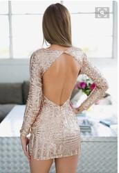 dress,rose gold,sequins,sparkle,sparkly dress,open back,open,open back dresses