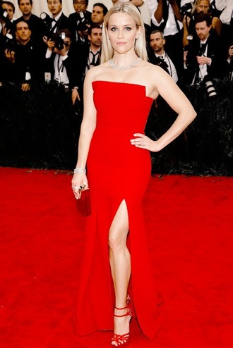 dress gown red maxi dress slit dress reese witherspoon red dress red carpet dress sandals strapless prom dress met gala metgala2015