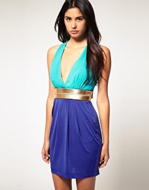 Lipsy | Lipsy Colour Block Metallic Belt Dress at ASOS