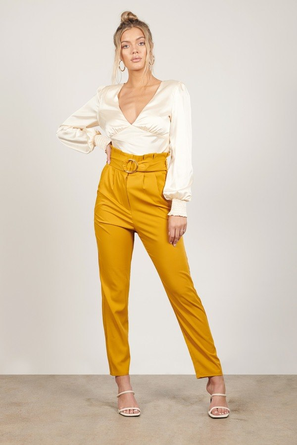 Poppy Mustard Belted Pants