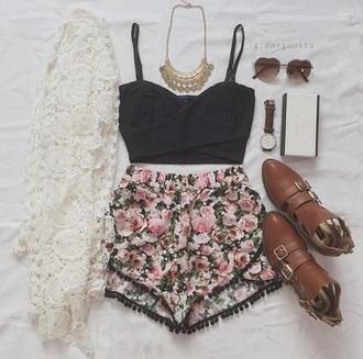 shorts floral cardigan