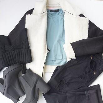 jacket top black crop tops shearling jacket black jacket black coat jeans ripped jeans ripped black jeans denim black denim blue