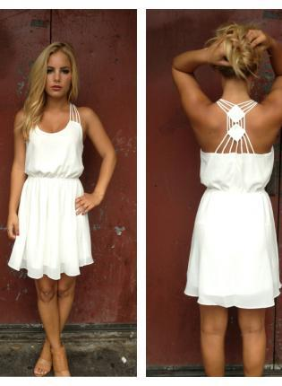 WHITE CHIFFON DOUBLE DIAMOND STRAPPY BACK DRESS on The Hunt