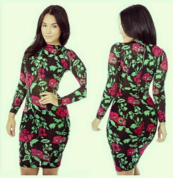 Women long sleeve bandage bodycon pencil slim fashion multi color floral dress