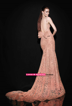 Aliexpress.com : buy tarik ediz 2014 new spaghetti straps pink lace floor length evening dresses backless bow mermaid long evening gown custom made from reliable gown protector suppliers on love & beauty dress