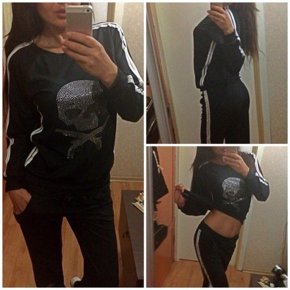 women set two pieces black white skull tshirt plus size dress pants long sleeve lace dress loose fitting casual dress