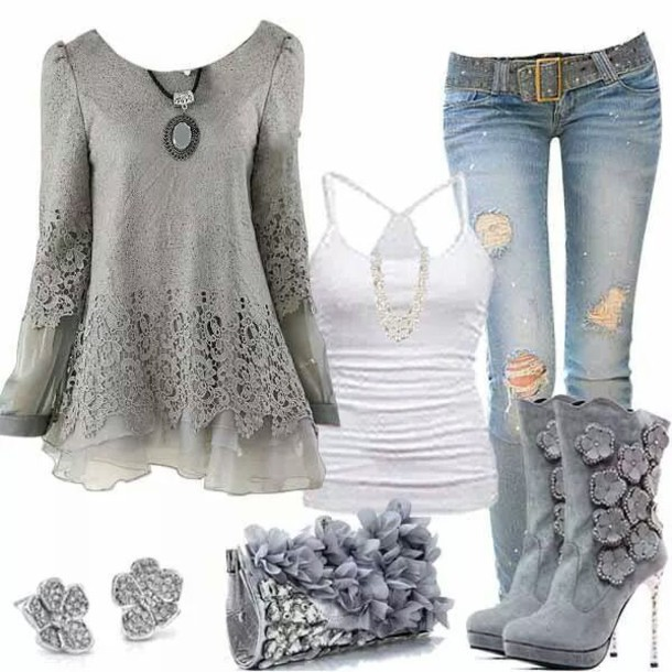 shoes shirt blouse grey sweater lace top t-shirt skirt lace slicing t-shirt