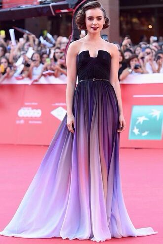 dress stars ombre purple dress lily collins prom dress patterned dress elie saab ellie saab celebrity dresses ellie saab