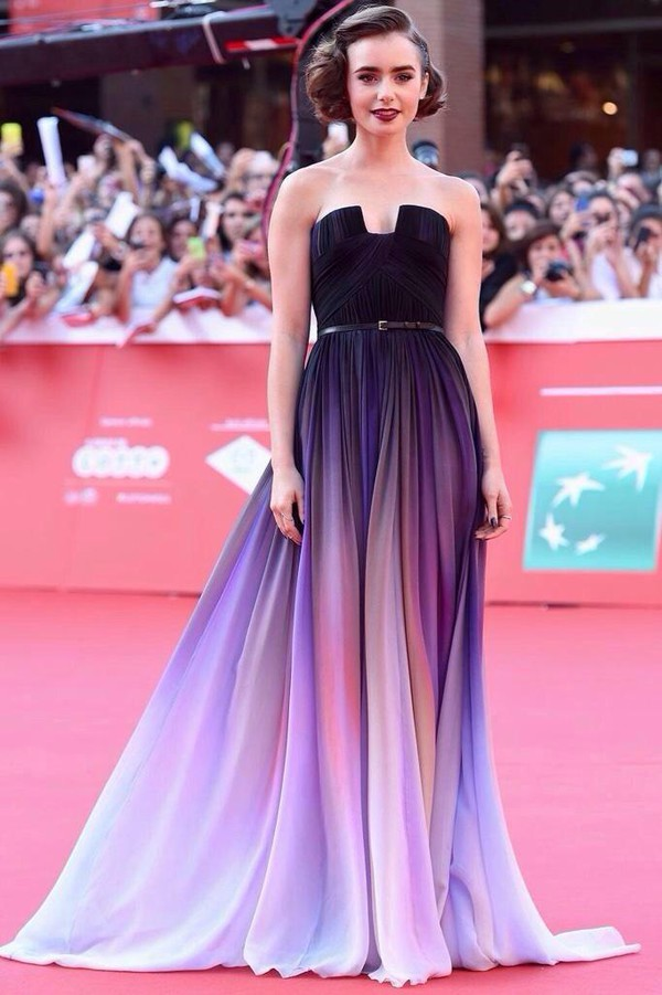 dress stars dress elie saab ombre purple dress lily collins ellie saab celebrity dresses ellie saab lilly collins haute couture promdress prom prom dress prom dress prom gown prom dress prom dresses lace
