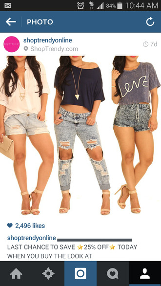 top t-shirt navy necklace button up blouse ripped jeans jeans