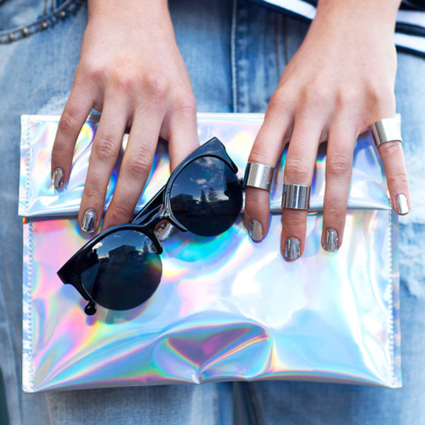 sunglasses holographic sunnies hipster ootd outfit ring nail polish bag jewels