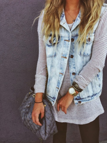 denim denim vest sweater acid wash knit sweater winter sweater winter outfits causal outfit knitted sweater