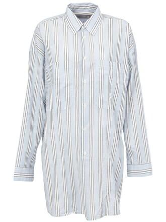 shirt striped shirt oversized blue top