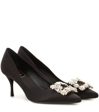 embellished pumps satin black shoes