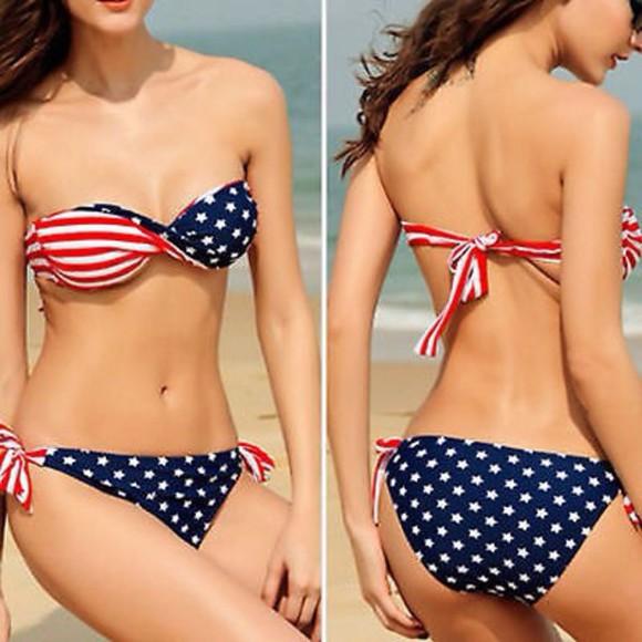 stars cute white swimwear american flag srtipes style bikini two-piece blue bikini blue blue swimwear sexy bikini sexy strapless bikini strappy bikini strapless vacation beach