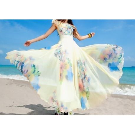 Hawaii Flower Chiffon Beautiful Women Dress lml2009 - lol-malls - Trustful Online Shopping for Women Dresses