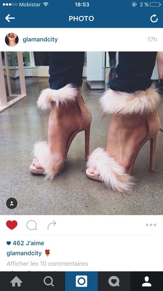 shoes heels high heels pink nude fluffy sandals style sexy cute feathers