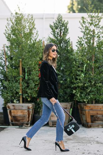 jacket tumblr blazer black blazer velvet velvet blazer bag black bag denim jeans blue jeans pumps pointed toe pumps high heel pumps