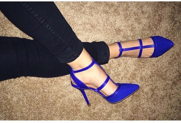shoes blue pumps pointed toe royal blue high heel sandals blue sandals