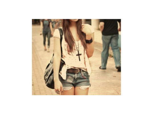 shirt top jewels cross jacket cardigan necklace bag denim shorts Belt
