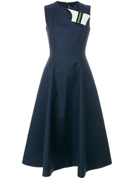 CALVIN KLEIN 205W39NYC dress women cotton blue silk