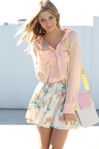 skirt floral skirt girly shirt bag