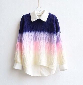 fine knit jumper ombre ombre sweater cable knit tie dye jumper pastel pastel sweater knitted sweater sweater color? marrand jolie multicolor preppy preppy fashionist blue navy blue sweater purple lavender pink tyed dye cute pastel pink pastel purple pastel blue winter sweater dope musthave fashion vibe lovable white beautiful sweatshirt girly girl instagram rainbow colorful shirt top
