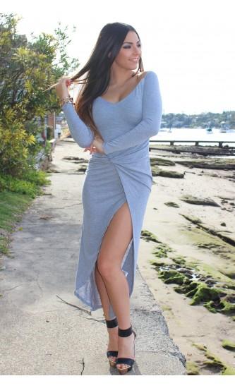 Bold love maxi dress grey