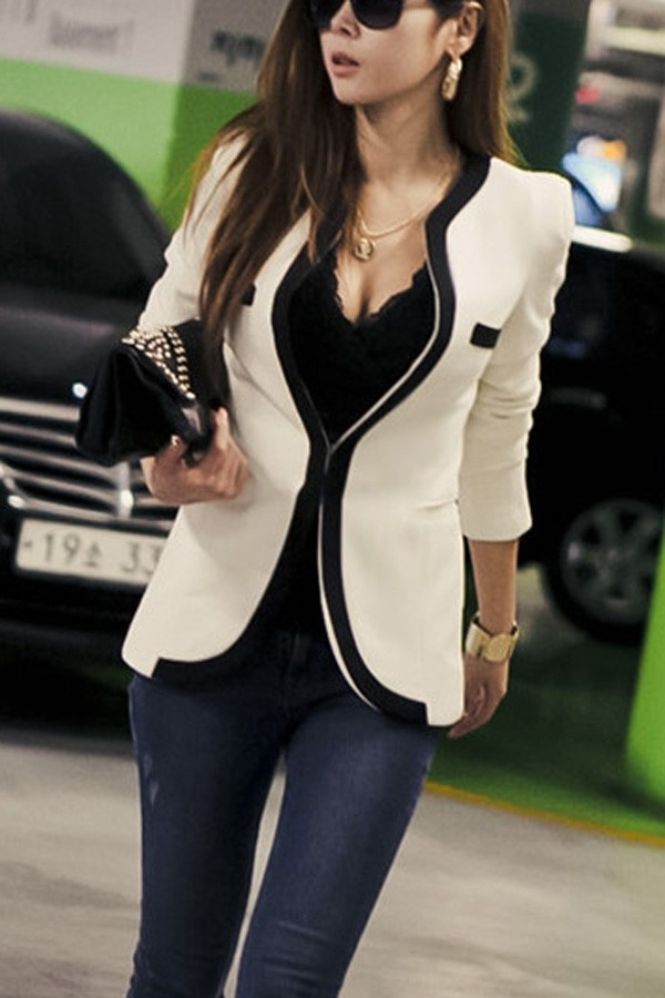 Black Blazer v Neck V-neck One Button Blazer
