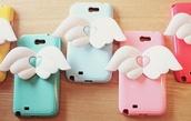 jewels,angel wings,phone cover,kawaii,kawaii accessory,pastel