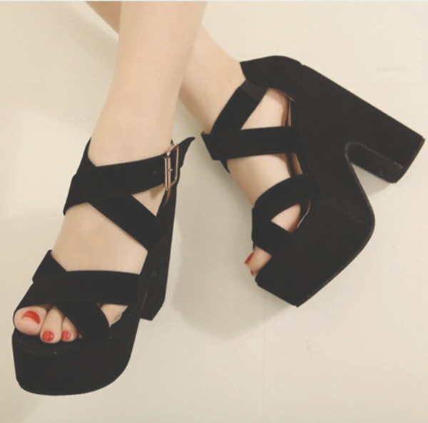 shoes black black shoes platform high heels