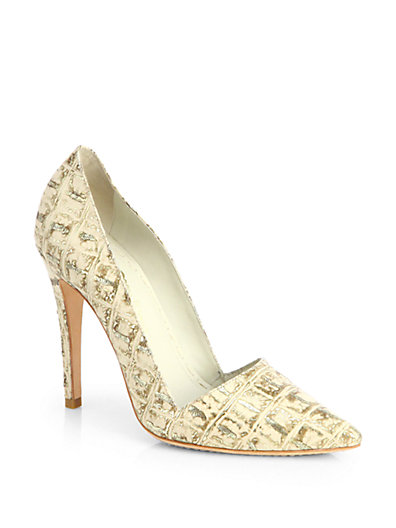 Alice   Olivia - Dina Croc-Embossed Leather Pumps - Saks.com