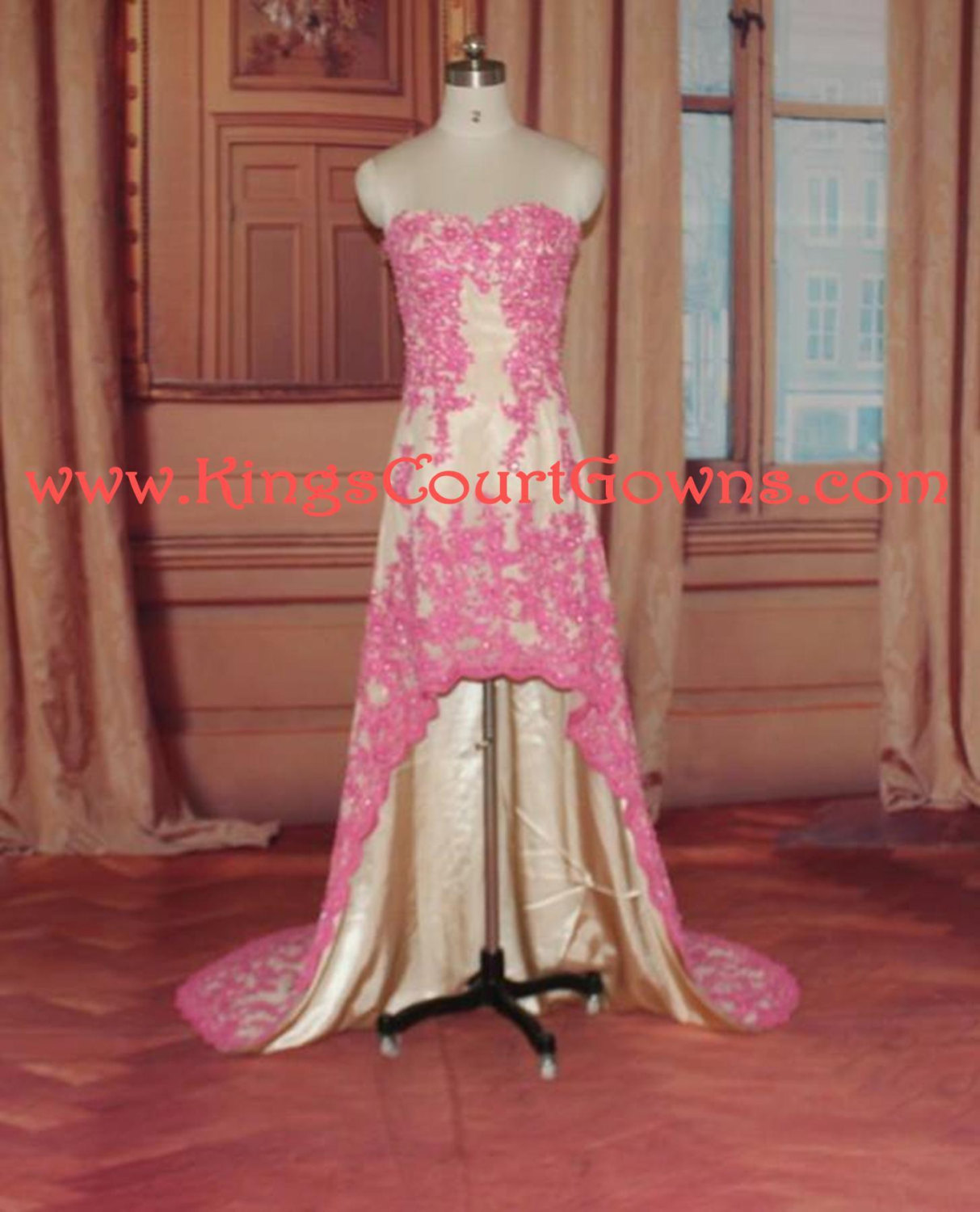 Replica hot pink champagne high low beaded lace train prom evening pageant dress gown