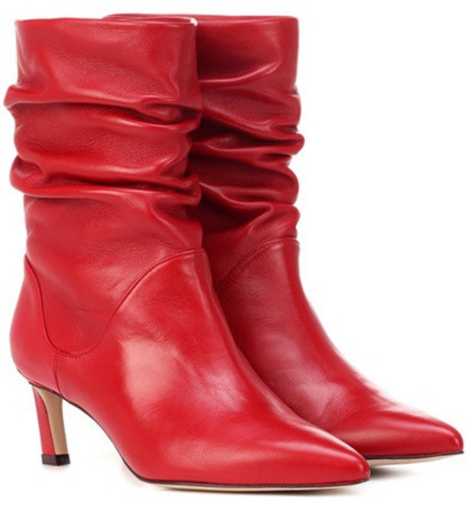 Stuart Weitzman Demibenatar leather ankle boots in red