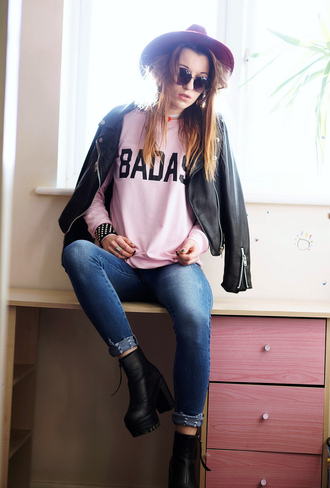laughing in the purple rain blogger jeans pink sweater funny sweater sweater hat shoes sunglasses