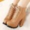 Winter round toe chunky high heel lace up ankle light tan martens boots_boots_womens shoes_cheap clothes,cheap shoes online,wholesale shoes,clothing on lovelywholesale.com